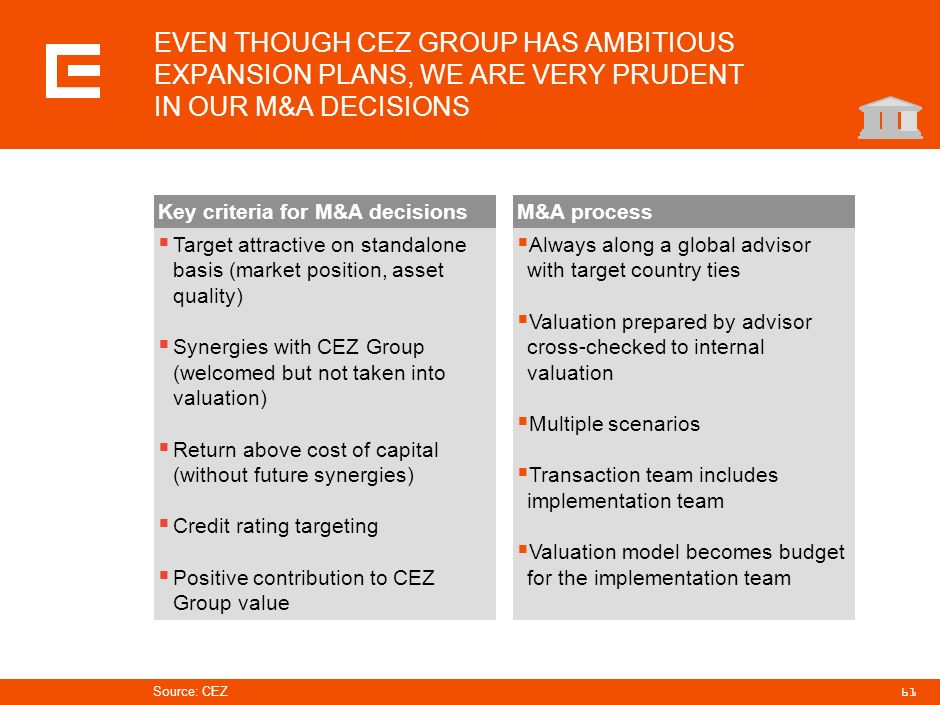 PRG-ZPD008-20041008-11373P1C EVEN THOUGH CEZ GROUP HAS AMBITIOUS EXPANSION PLANS, WE ARE VERY PRUDENT IN OUR M&A DECISIONS.