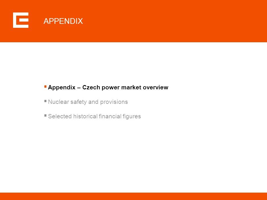 APPENDIX Appendix – Czech power market overview