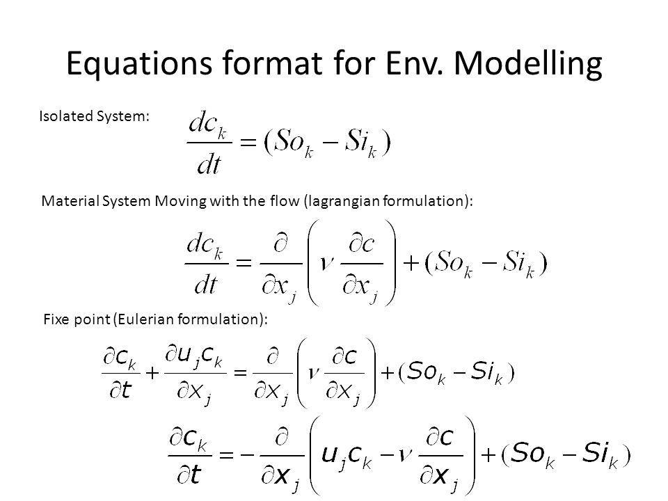 Equations format for Env. Modelling