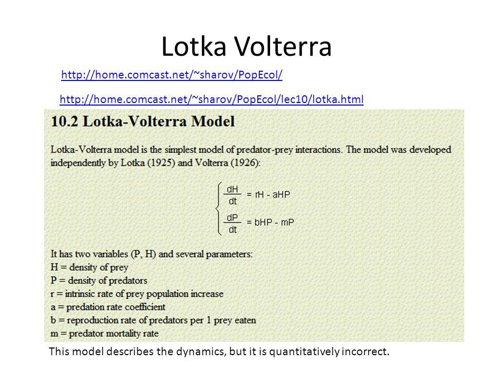 Lotka Volterra http://home.comcast.net/~sharov/PopEcol/