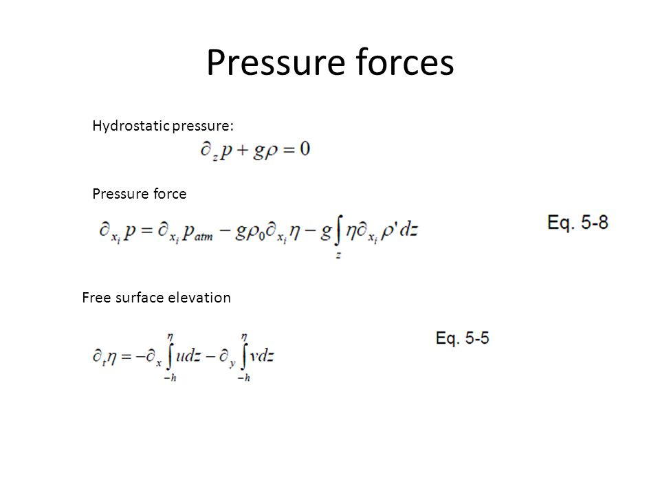Pressure forces Hydrostatic pressure: Pressure force