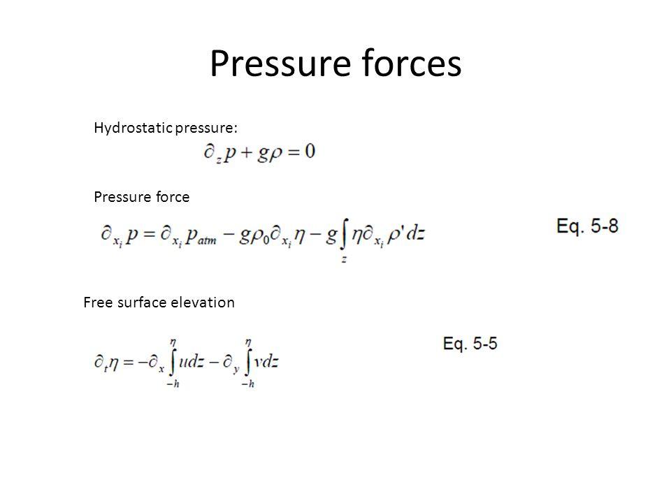 Pressure forces Hydrostatic pressure: Pressure force