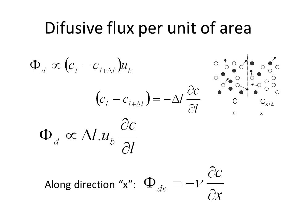 Difusive flux per unit of area