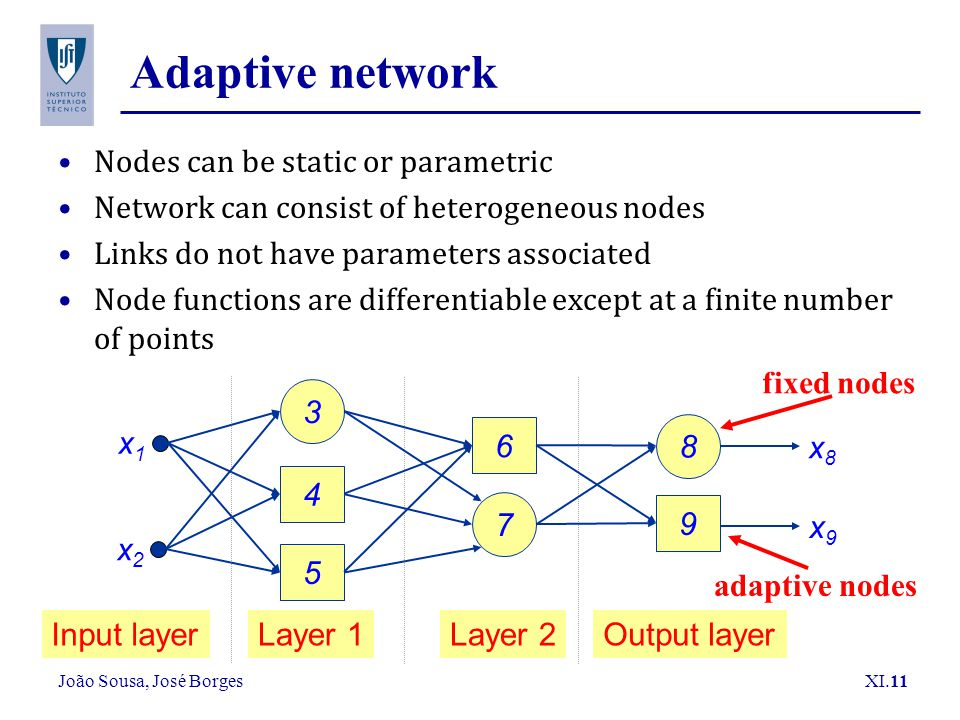 Adaptive network Nodes can be static or parametric