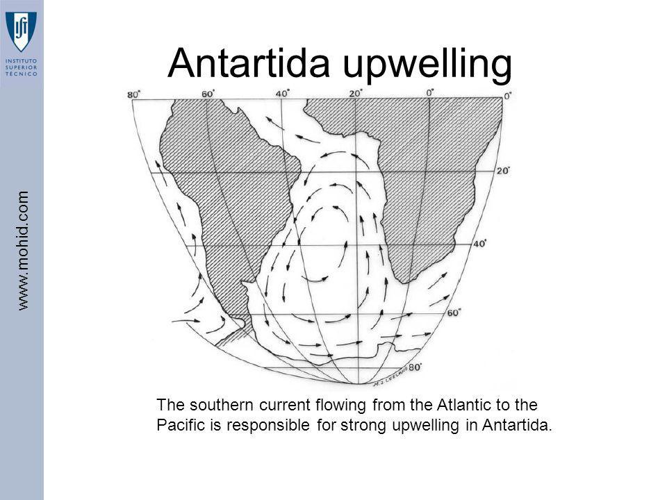 Antartida upwelling The southern current flowing from the Atlantic to the Pacific is responsible for strong upwelling in Antartida.