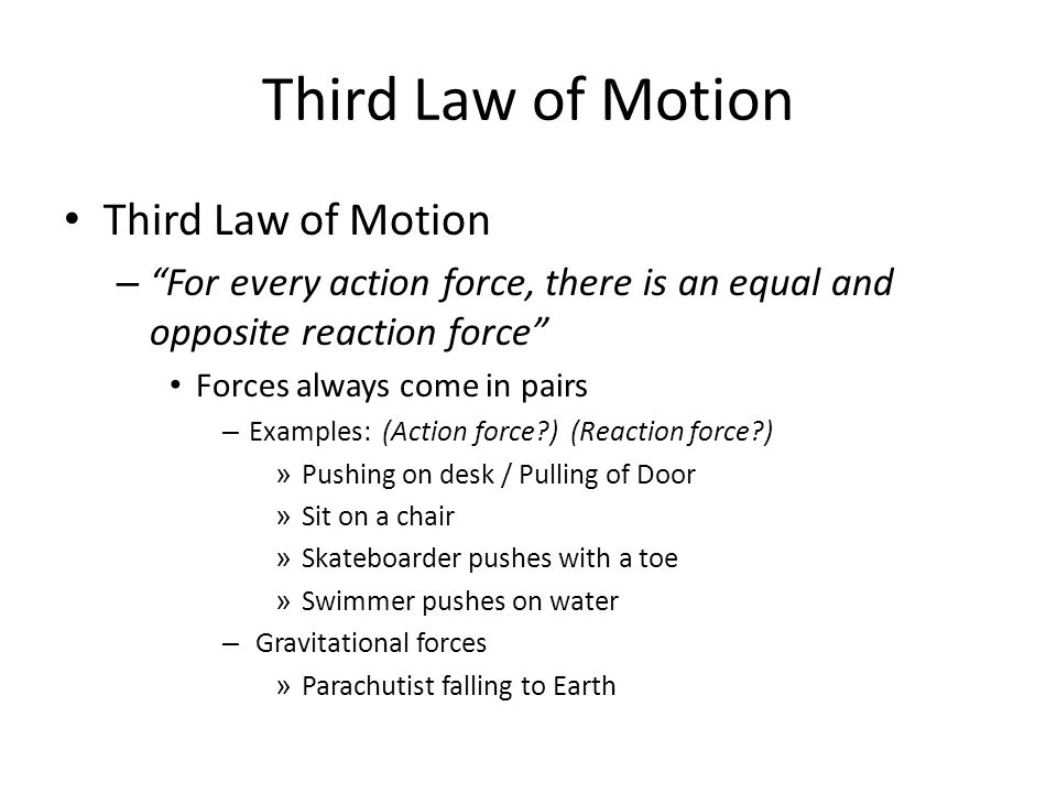 Third Law of Motion Third Law of Motion