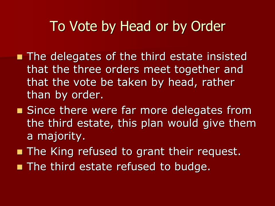 To Vote by Head or by Order