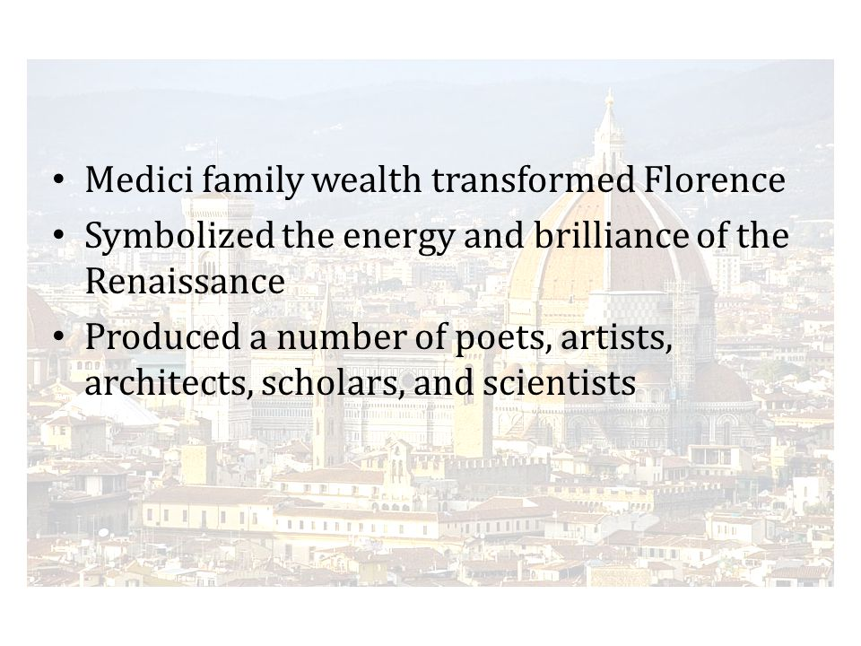 Florence Medici family wealth transformed Florence