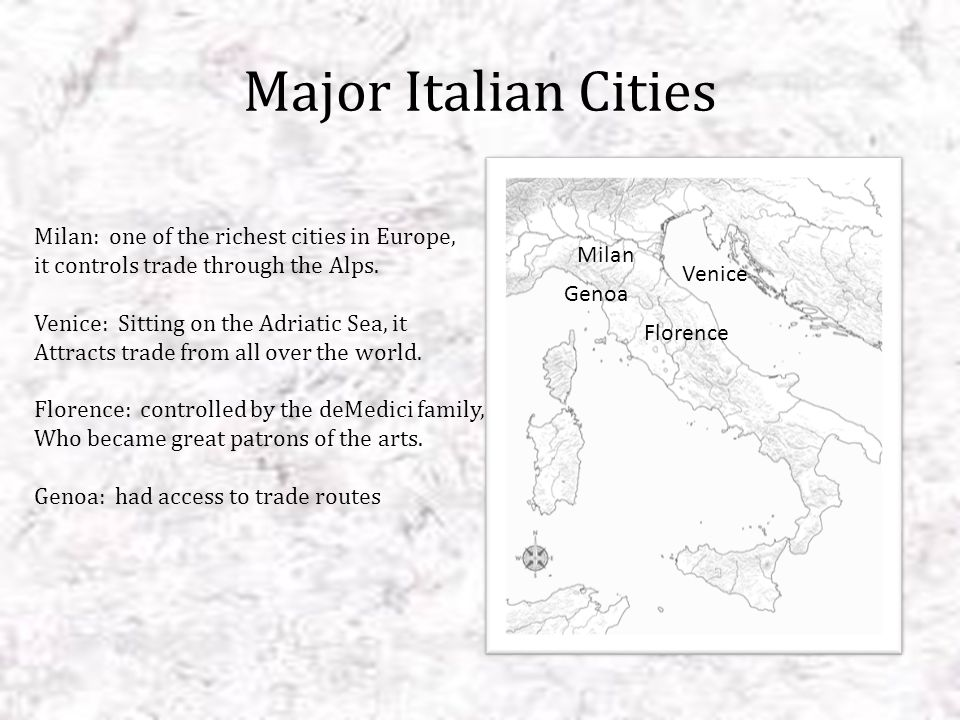 Major Italian Cities Milan: one of the richest cities in Europe,