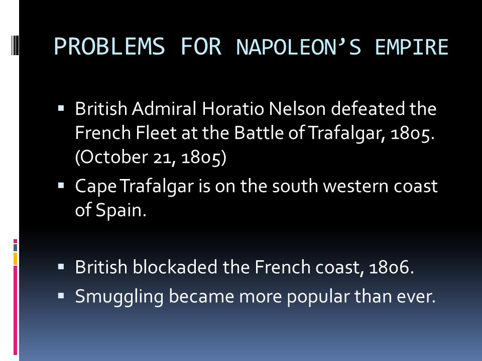 PROBLEMS FOR NAPOLEON'S EMPIRE