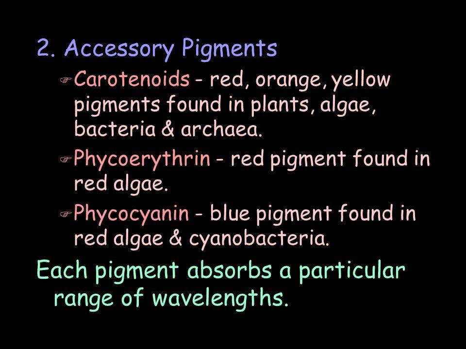 Each pigment absorbs a particular range of wavelengths.