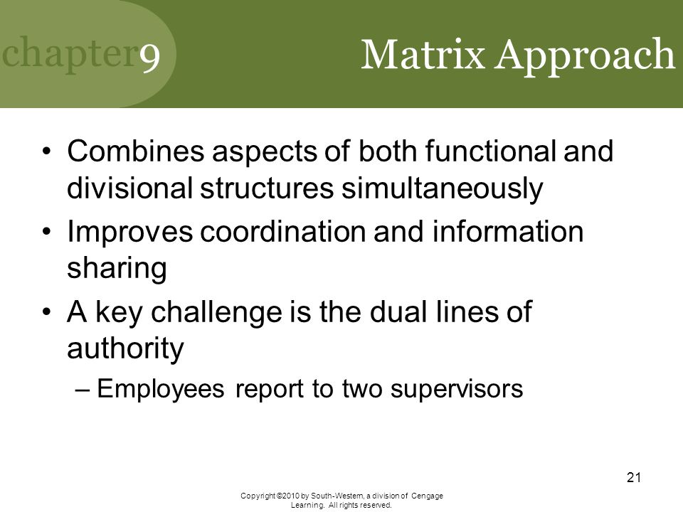 Matrix Approach Combines aspects of both functional and divisional structures simultaneously. Improves coordination and information sharing.