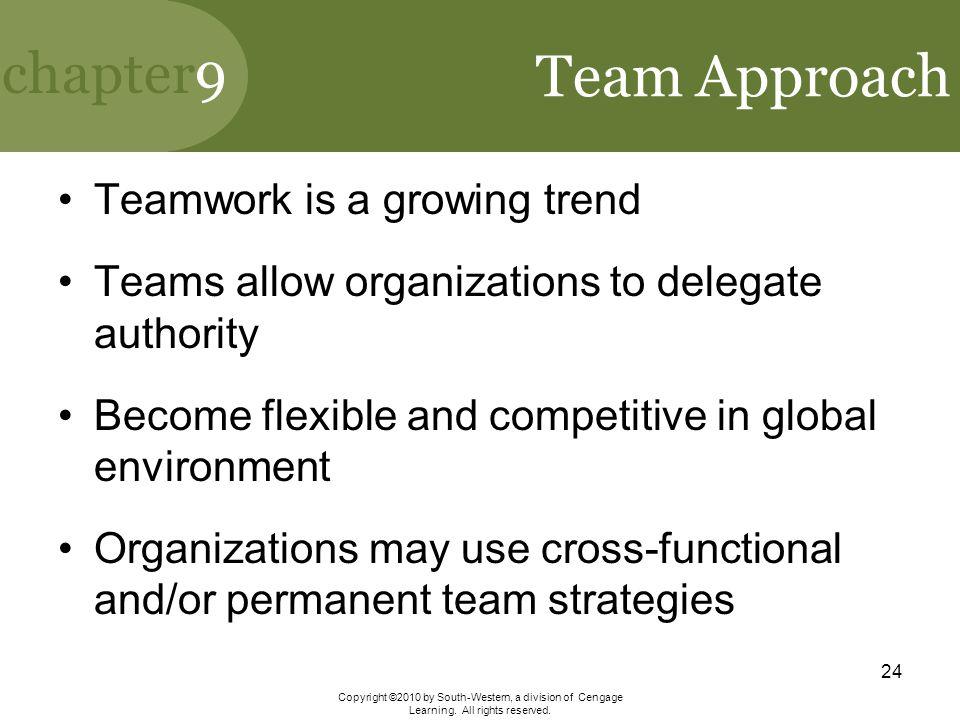 Team Approach Teamwork is a growing trend