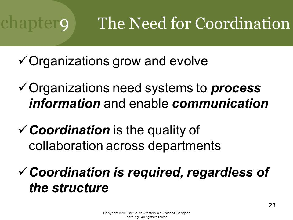 The Need for Coordination