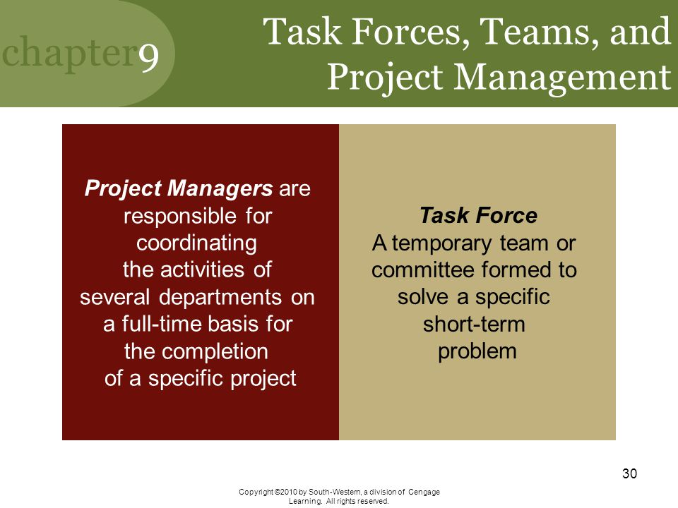 Task Forces, Teams, and Project Management