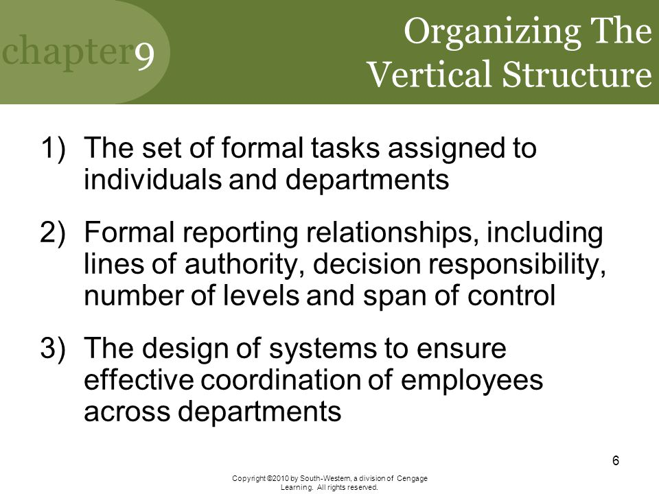Organizing The Vertical Structure