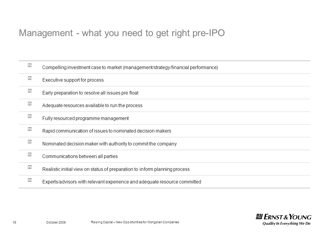 Management - what you need to get right pre-IPO