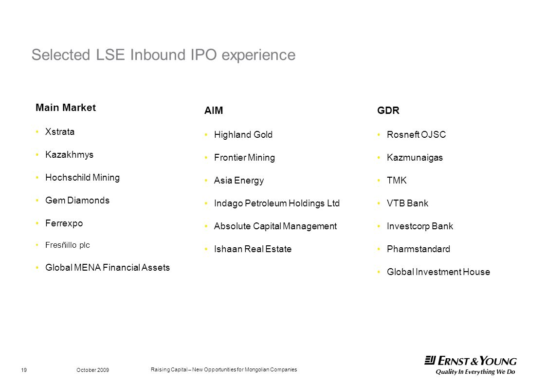 Selected LSE Inbound IPO experience
