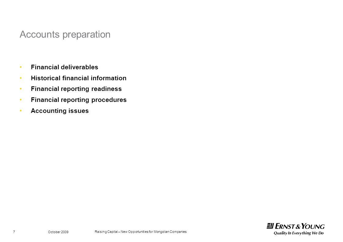 Accounts preparation Financial deliverables