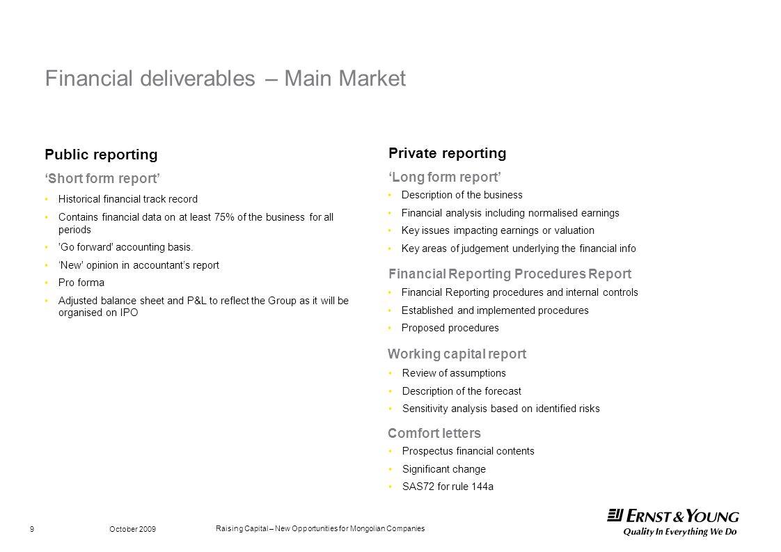 Financial deliverables – Main Market