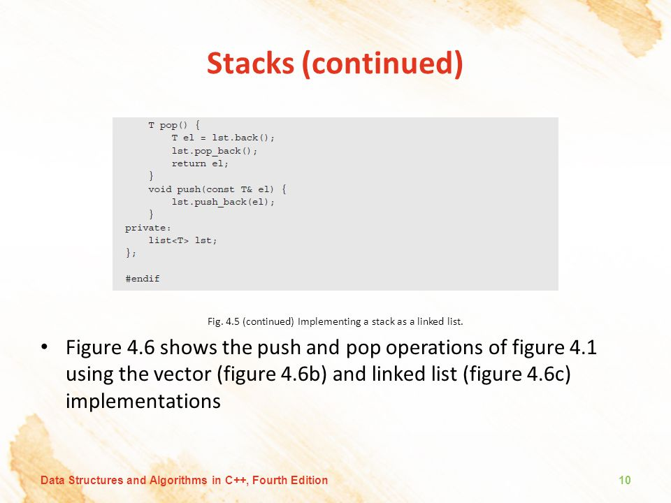 Fig. 4.5 (continued) Implementing a stack as a linked list.