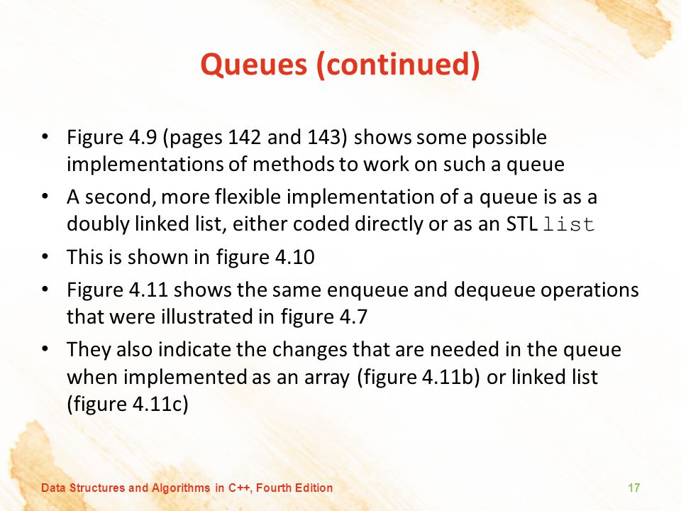 Queues (continued) Figure 4.9 (pages 142 and 143) shows some possible implementations of methods to work on such a queue.