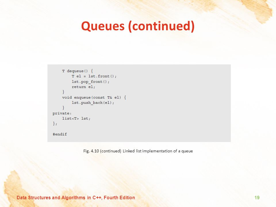 Fig. 4.10 (continued) Linked list implementation of a queue