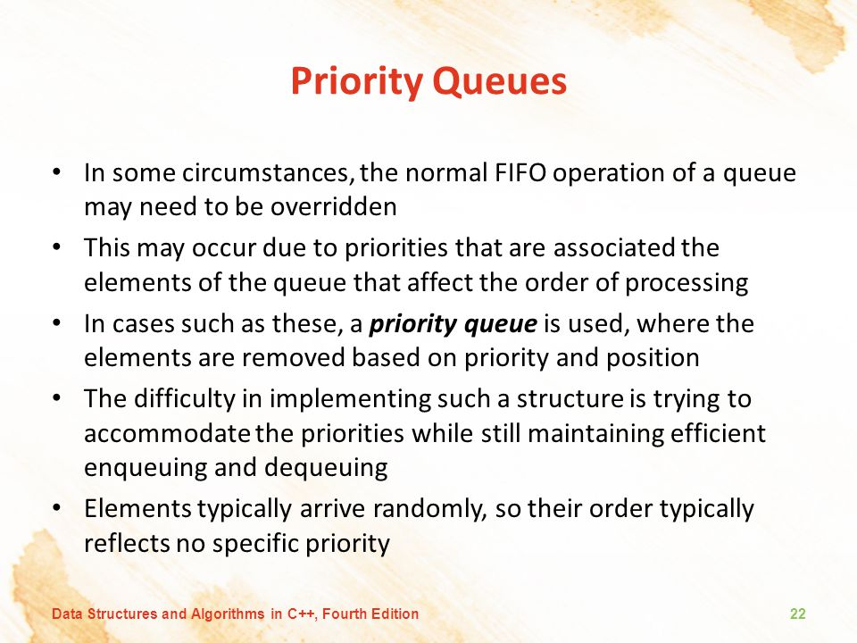 Priority Queues In some circumstances, the normal FIFO operation of a queue may need to be overridden.