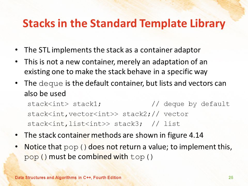 Stacks in the Standard Template Library