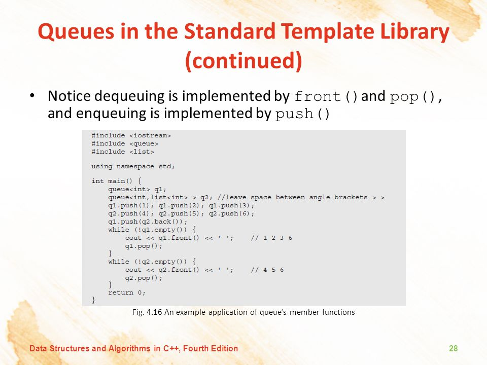 Queues in the Standard Template Library (continued)