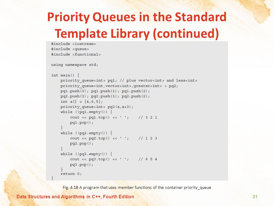 Priority Queues in the Standard Template Library (continued)
