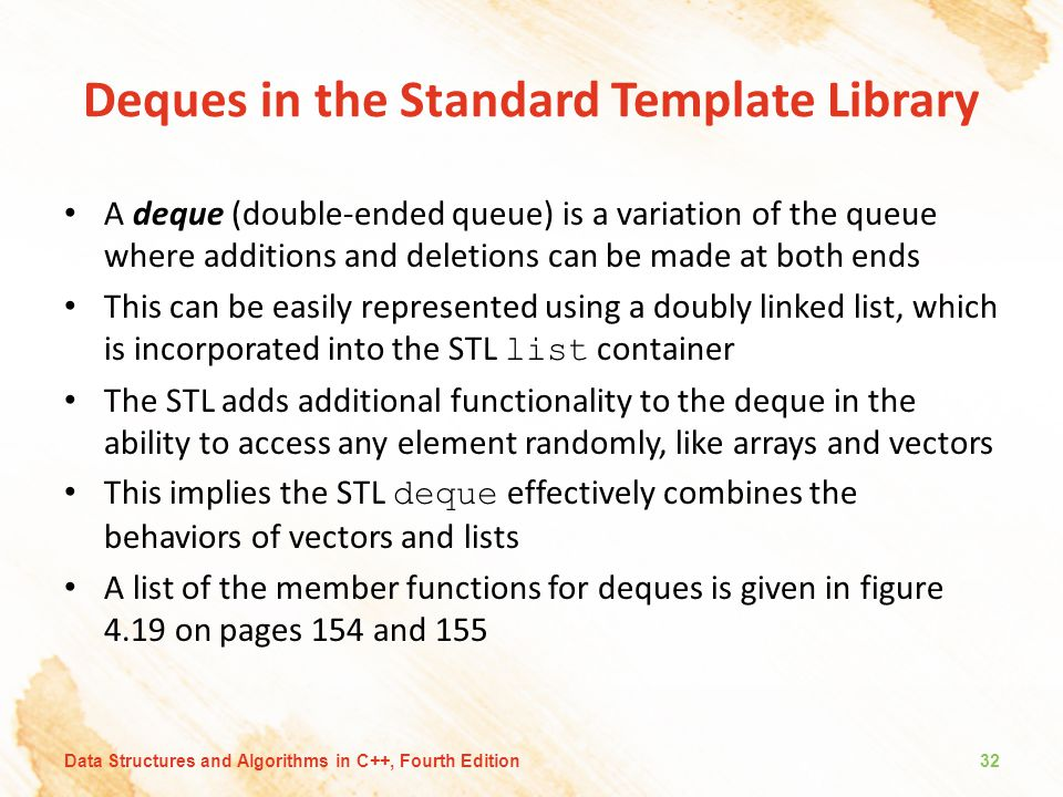 Deques in the Standard Template Library