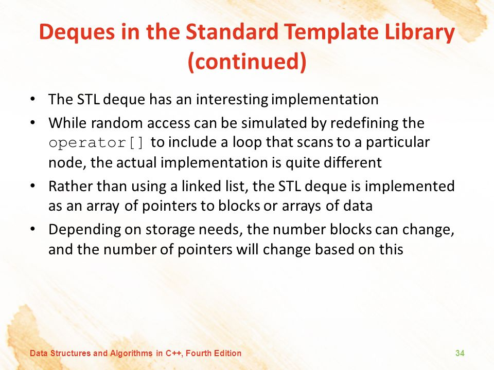 Deques in the Standard Template Library (continued)