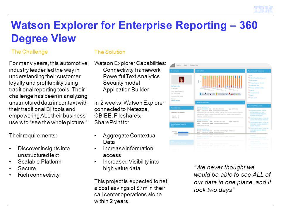 Watson Explorer for Enterprise Reporting – 360 Degree View