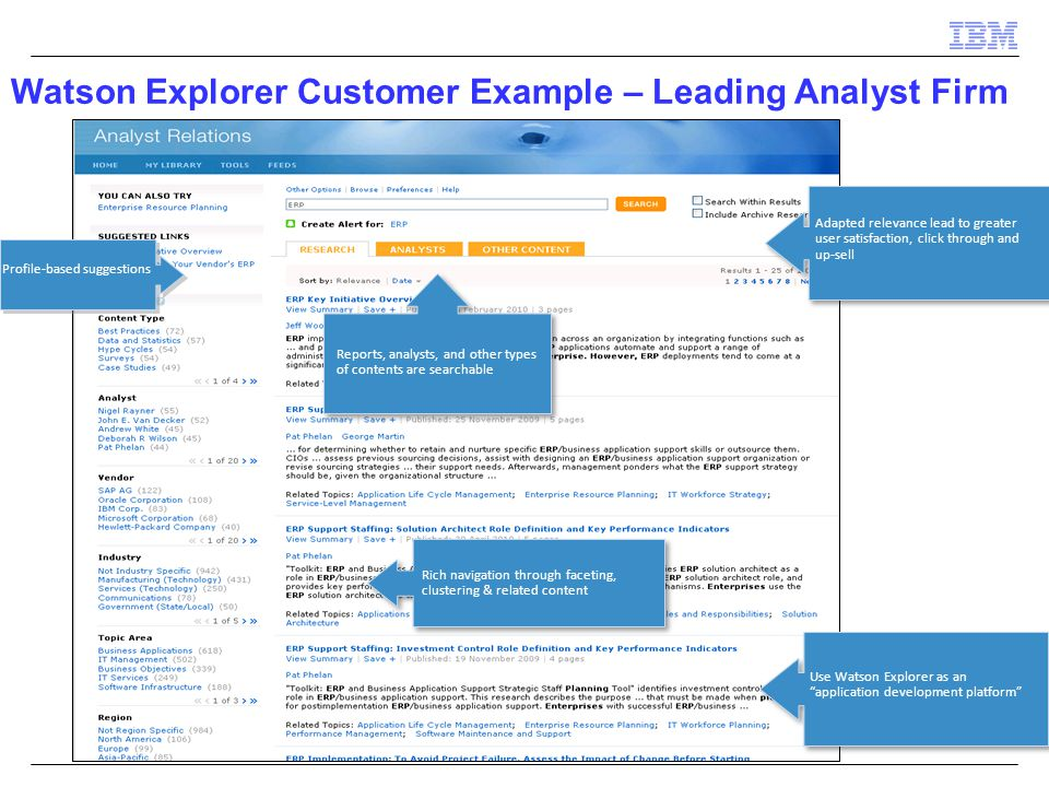 Watson Explorer Customer Example – Leading Analyst Firm