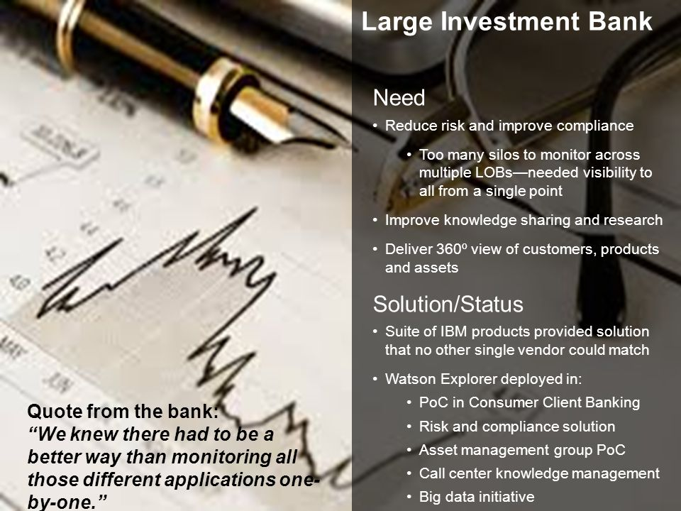 Large Investment Bank Need Solution/Status Quote from the bank: