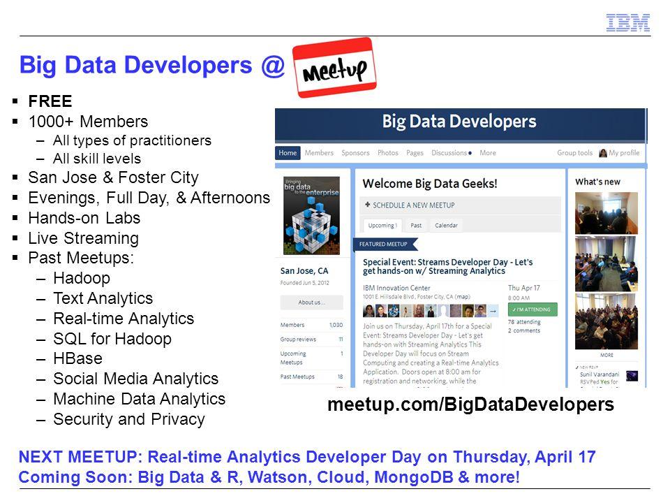 Big Data Developers @ meetup.com/BigDataDevelopers FREE 1000+ Members