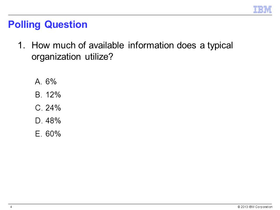 Polling Question How much of available information does a typical organization utilize 6% 12% 24%