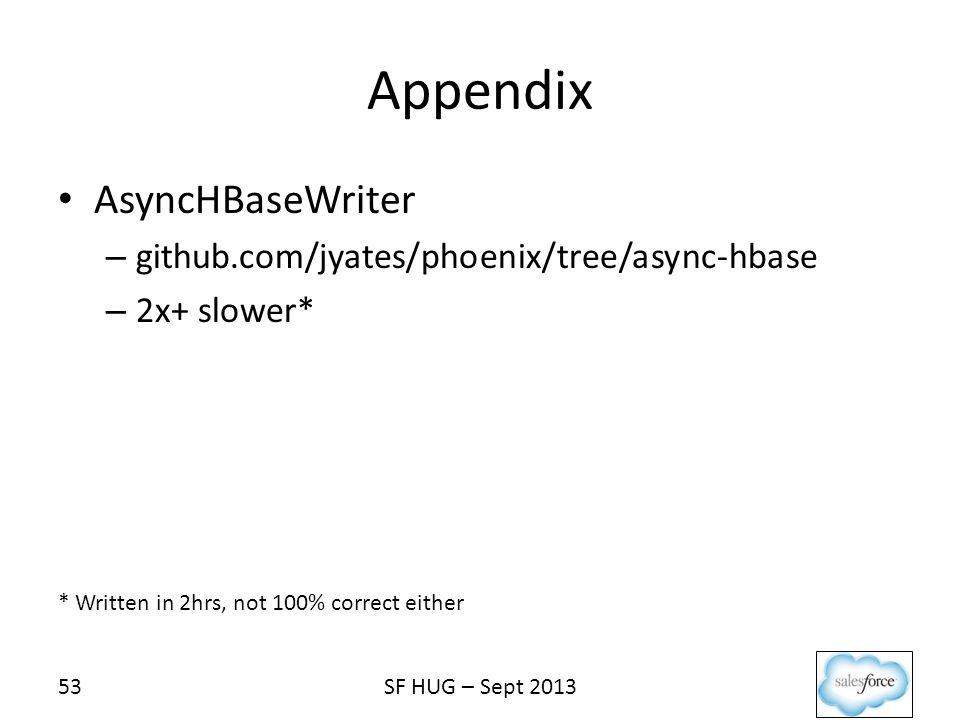 Appendix AsyncHBaseWriter github.com/jyates/phoenix/tree/async-hbase