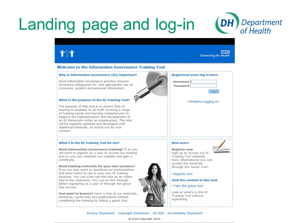 Landing page and log-in