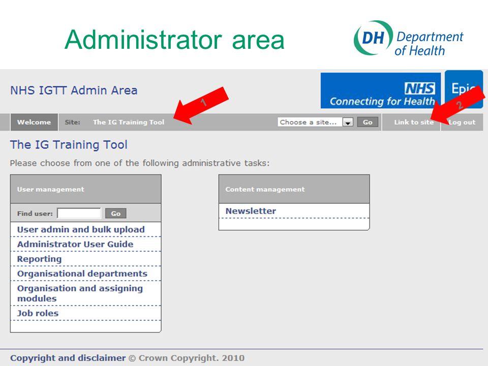 Administrator area 1. 2. Link at top and 'Choose a site ...' return to administrator home page.