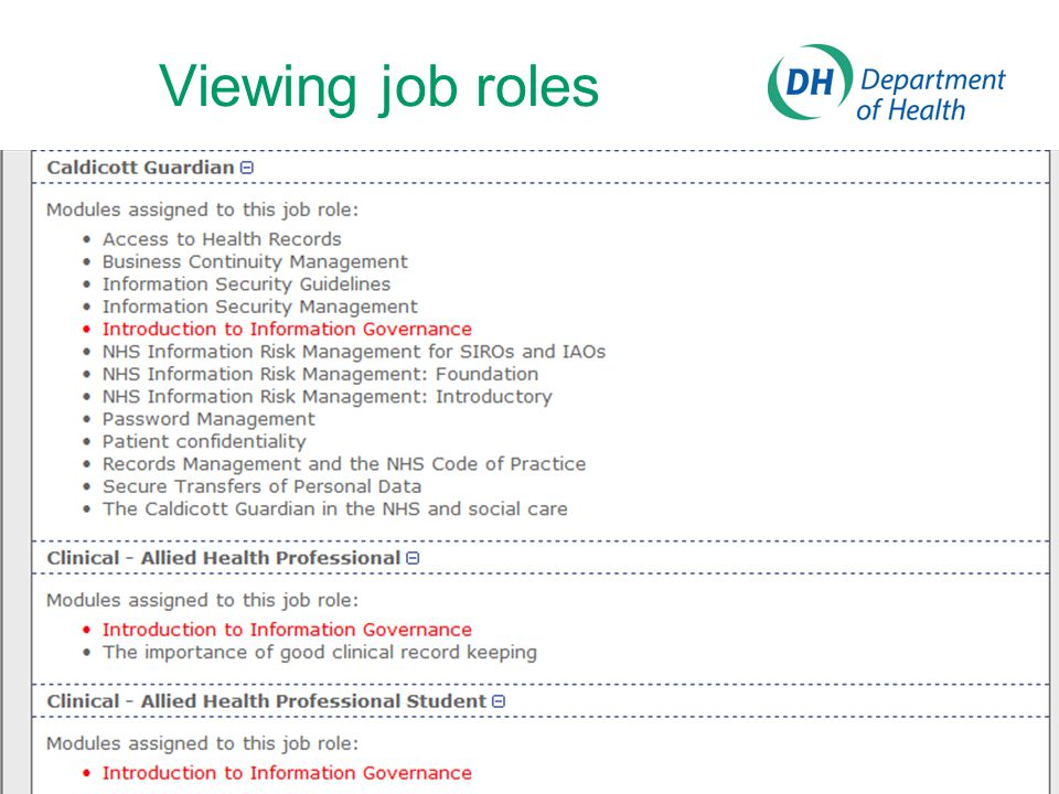 Viewing job roles