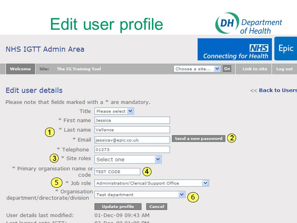 Edit user profile