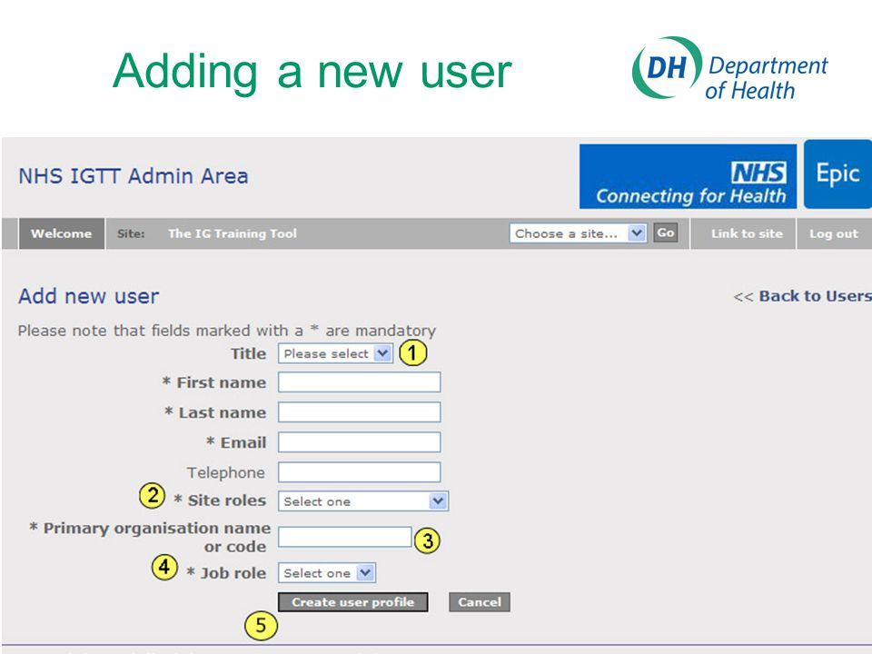 Adding a new user User details: Enter the details of an individual user here. Fields marked * are mandatory.