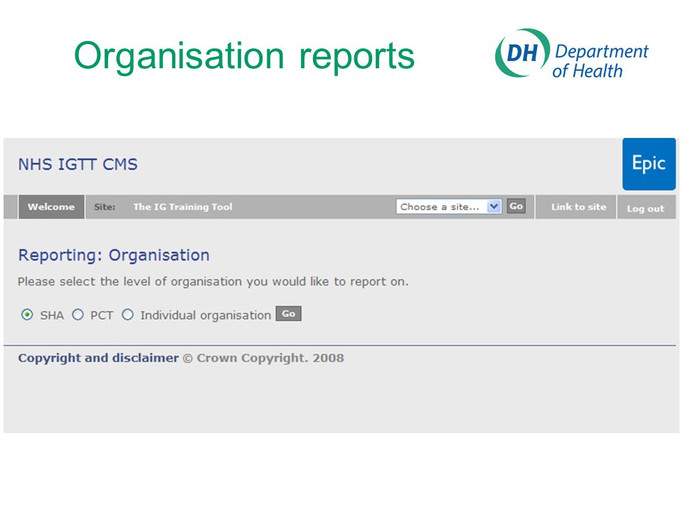 Organisation reports Reporting level: