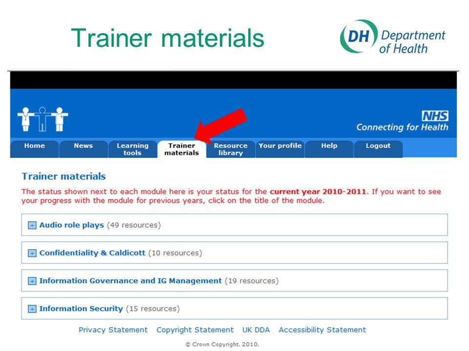 Trainer materials