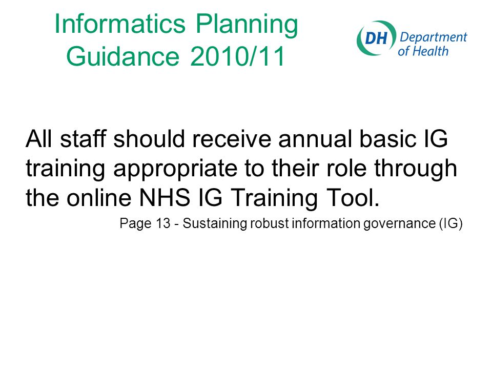 Informatics Planning Guidance 2010/11