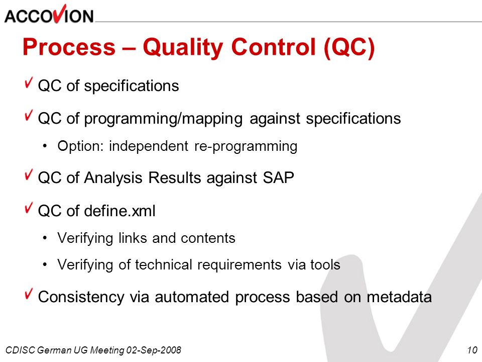 Process – Quality Control (QC)