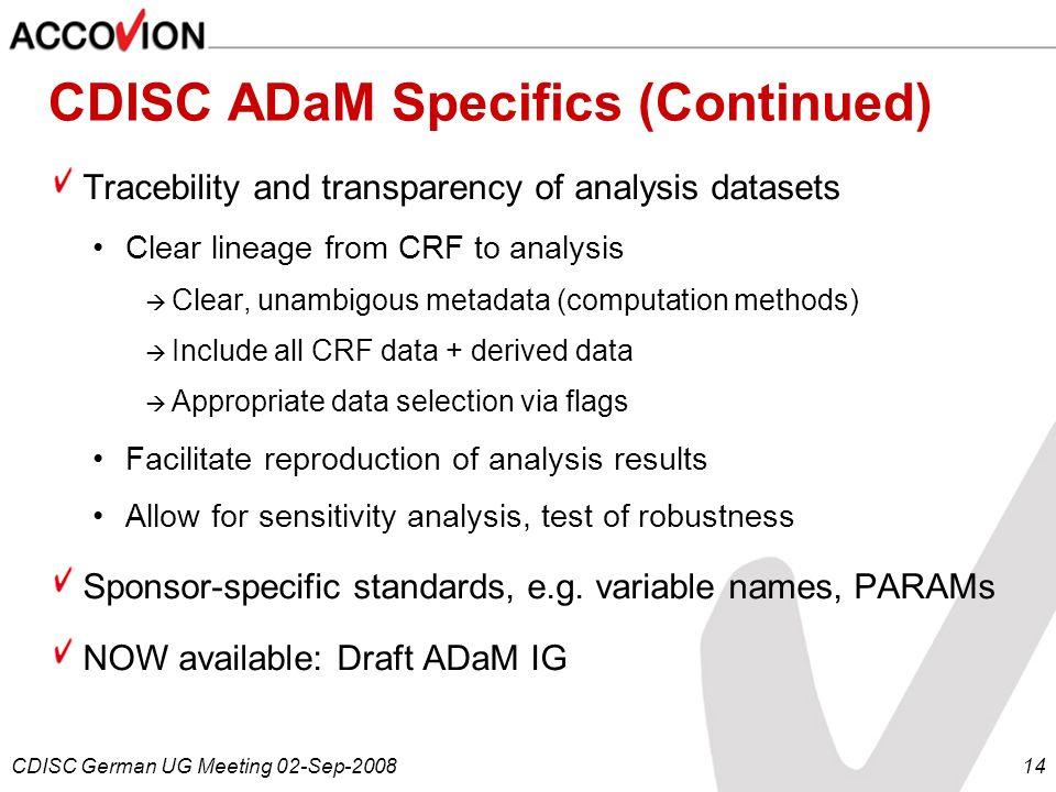 CDISC ADaM Specifics (Continued)