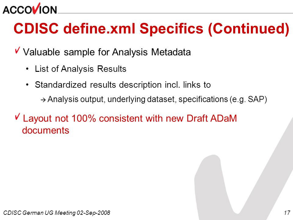 CDISC define.xml Specifics (Continued)